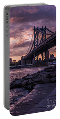Nyc- Manhatten Bridge At Night Portable Battery Charger