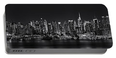 Nyc Skyline Full Moon Panorama Bw Portable Battery Charger