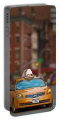 Portable Battery Charger featuring the digital art Taxi by Jerry Fornarotto