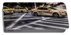 Nyc Yellow Cab On 5th Street - White Portable Battery Charger
