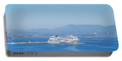 Ocean Liners In Corfu Portable Battery Charger by George Katechis