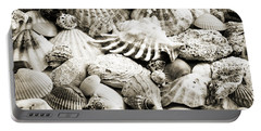 Ocean Seashells 1 B W Portable Battery Charger by Andee Design