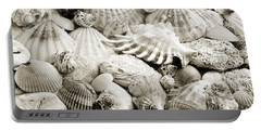 Ocean Seashells 2 B W Portable Battery Charger by Andee Design
