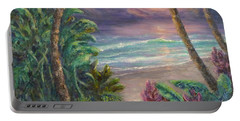 Ocean Sunrise Painting With Tropical Palm Trees  Portable Battery Charger