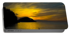 Ocean Sunset At Rosario Strait Portable Battery Charger