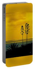 Ocean Sunset With Agave Silhouette Portable Battery Charger