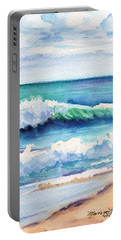 Portable Battery Charger featuring the painting Ocean Waves Of Kauai I by Marionette Taboniar