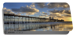 Oceanside Pier Sunset Reflection Portable Battery Charger