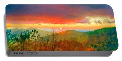 October Sunrise Painting On The Blue Ridge Parkway Portable Battery Charger