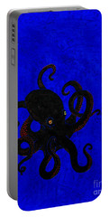 Octopus Black And Blue Portable Battery Charger by Stefanie Forck