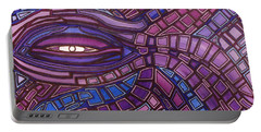 Portable Battery Charger featuring the painting Octopus Eye by Barbara St Jean