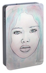 Portable Battery Charger featuring the mixed media Of Colour And Beauty - Blue by Malinda Prudhomme