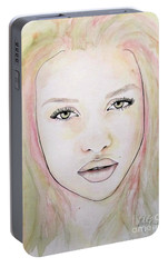 Portable Battery Charger featuring the mixed media Of Colour And Beauty - Pink by Malinda Prudhomme