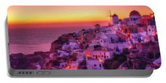 Oia Sunset Portable Battery Charger by Midori Chan