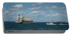 Portable Battery Charger featuring the photograph Oil Tanker And Lobster Boat by Jane Luxton
