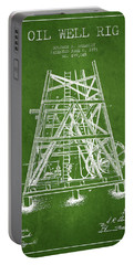 Oil Well Rig Patent From 1893 - Green Portable Battery Charger by Aged Pixel