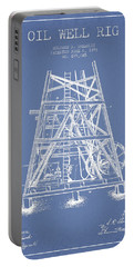 Oil Well Rig Patent From 1893 - Light Blue Portable Battery Charger by Aged Pixel