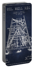 Oil Well Rig Patent From 1893 - Navy Blue Portable Battery Charger by Aged Pixel