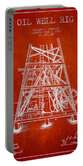 Oil Well Rig Patent From 1893 - Red Portable Battery Charger by Aged Pixel