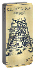 Oil Well Rig Patent From 1893 - Vintage Portable Battery Charger by Aged Pixel