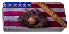 Old Ball And Glove With Bat Portable Battery Charger