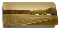 Old Barn And Farm Field In Sepia Portable Battery Charger by Amazing Photographs AKA Christian Wilson