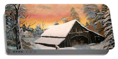 Portable Battery Charger featuring the painting Old Barn Guardian by Sharon Duguay