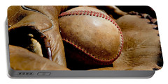 Old Baseball Ball And Gloves Portable Battery Charger