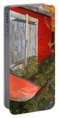 Portable Battery Charger featuring the painting Old Canoe by Lynne Reichhart