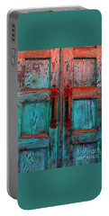 Portable Battery Charger featuring the photograph Old Church Door Handles 1 by Becky Lupe