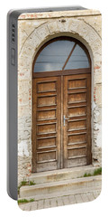 Portable Battery Charger featuring the photograph Old Church Door by Les Palenik