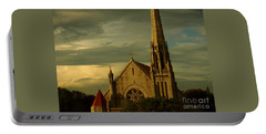 Portable Battery Charger featuring the photograph Old Church With Dramatic Clouds And Sky At Sunset by Miriam Danar