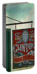 Old Clinton's Soda Fountain Sign Portable Battery Charger