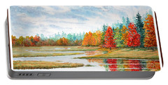 Portable Battery Charger featuring the painting Old Forge Autumn by Roger Rockefeller