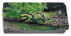 Portable Battery Charger featuring the painting Old Friends by Karen Ilari