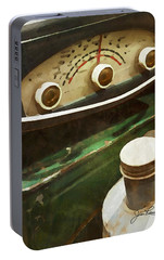 Portable Battery Charger featuring the painting Old Green Radio by Joan Reese