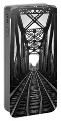 Old Huron River Rxr Bridge Black And White  Portable Battery Charger
