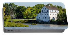 Old Mill On Grand River In Caledonia In Ontario Portable Battery Charger