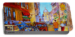 Portable Battery Charger featuring the painting Old Montreal by Carole Spandau