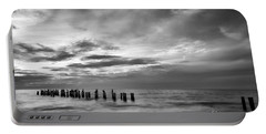 Old Naples Pier In Black And White Portable Battery Charger
