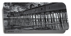 Old Orchard Beach Pier Bw Portable Battery Charger