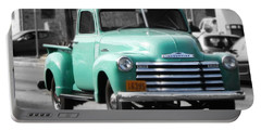 Old Pickup Truck Photo Teal Chevrolet Portable Battery Charger