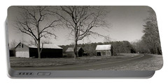 Old Red Barn In Black And White Long Portable Battery Charger