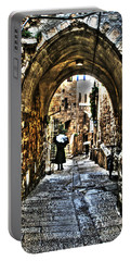 Portable Battery Charger featuring the photograph Old Street In Jerusalem by Doc Braham