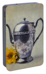 Old Teapot With Sunflower Portable Battery Charger by Garry Gay
