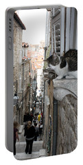 Old Town Alley Cat Portable Battery Charger by David Nicholls