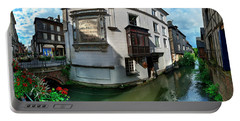 Old Town And Canal, Pont-audemer, Eure Portable Battery Charger