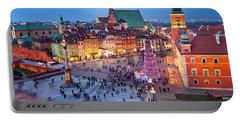 Old Town In Warsaw At Night Portable Battery Charger