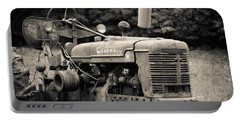 Old Tractor Black And White Square Portable Battery Charger