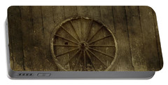 Old Wagon Wheel On Barn Wall Portable Battery Charger